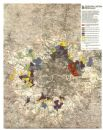 GREATER LONDON PLAN.Proposed density post decentralisation.ABERCROMBIE 1944 map